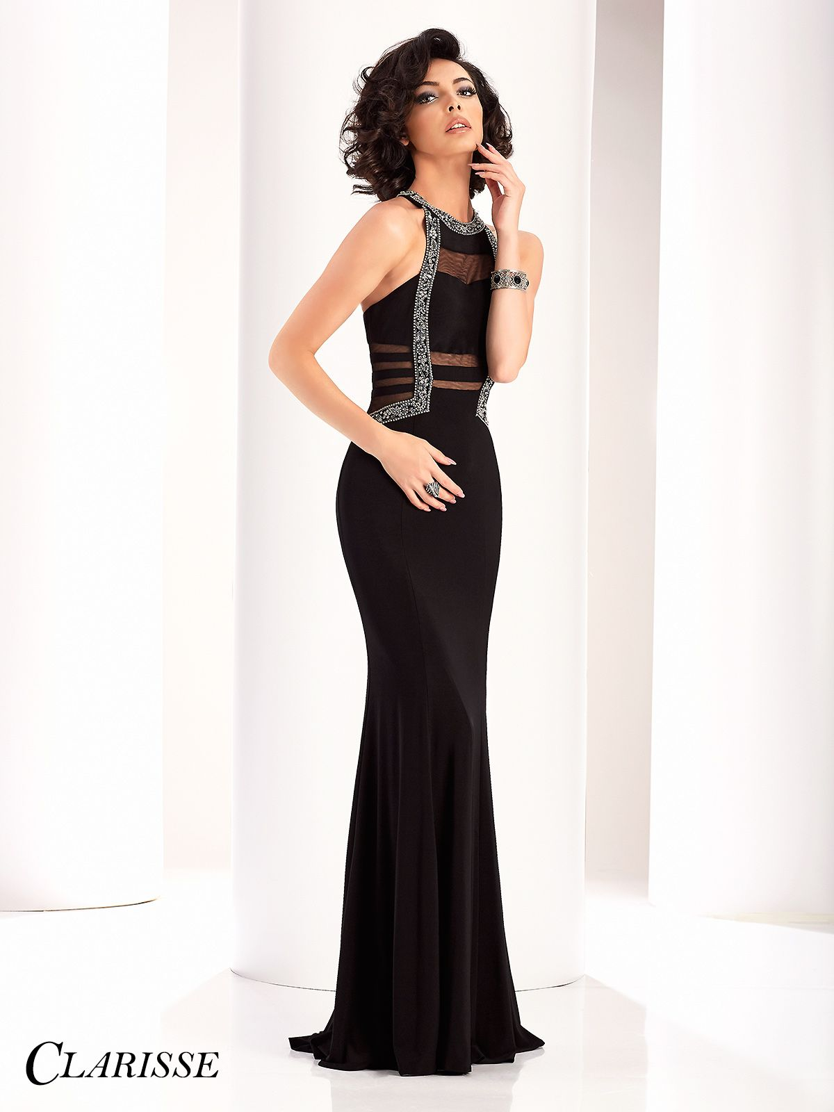 0d873d75bd1 Clarisse Couture Sparkling Cutout Prom Dress 4803. Beautiful tight fitted  black prom dress for 2017.