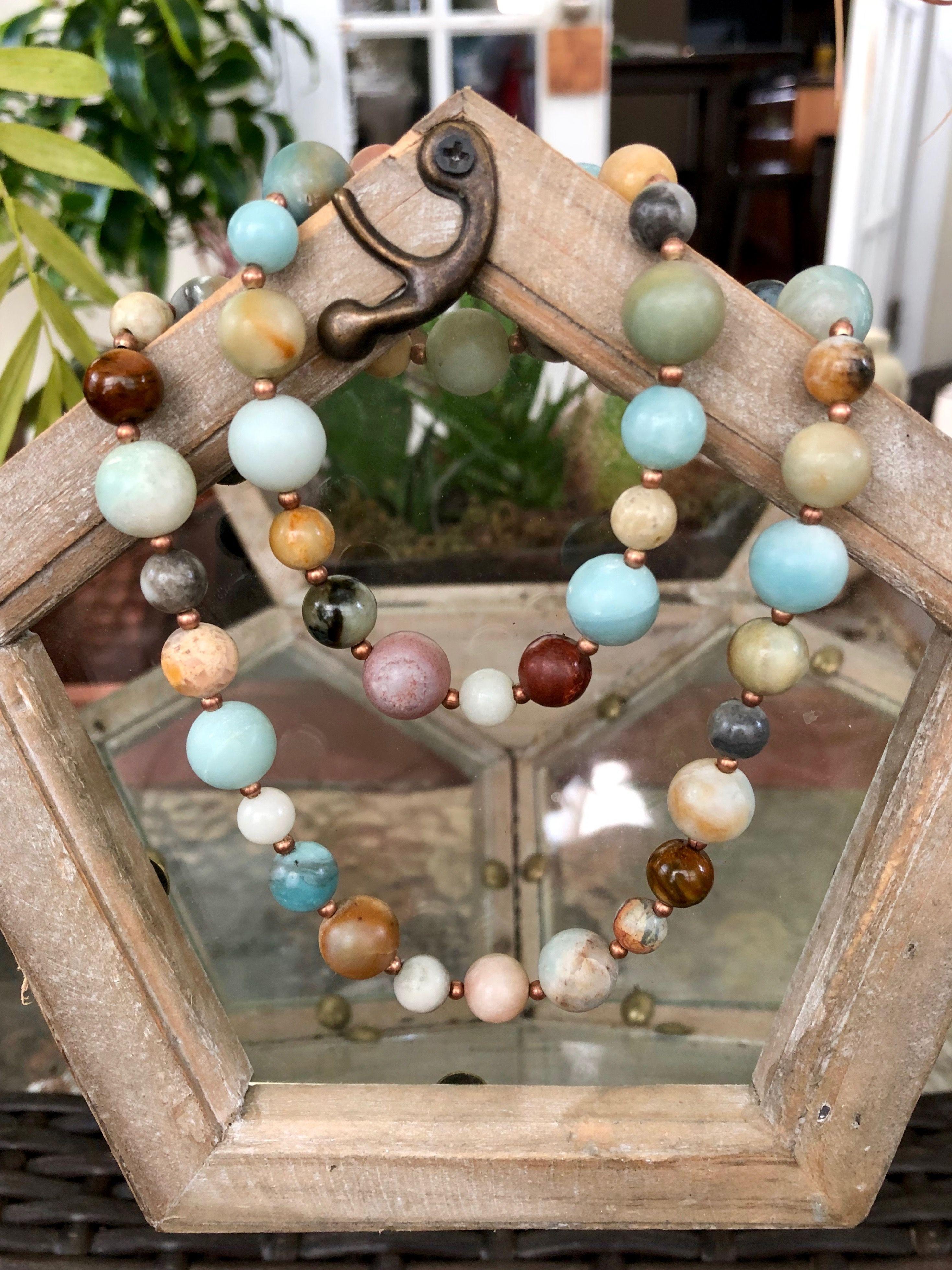 Amazonite Beaded Bracelet and Earring Set Polished Brass Genuine Stone Matte