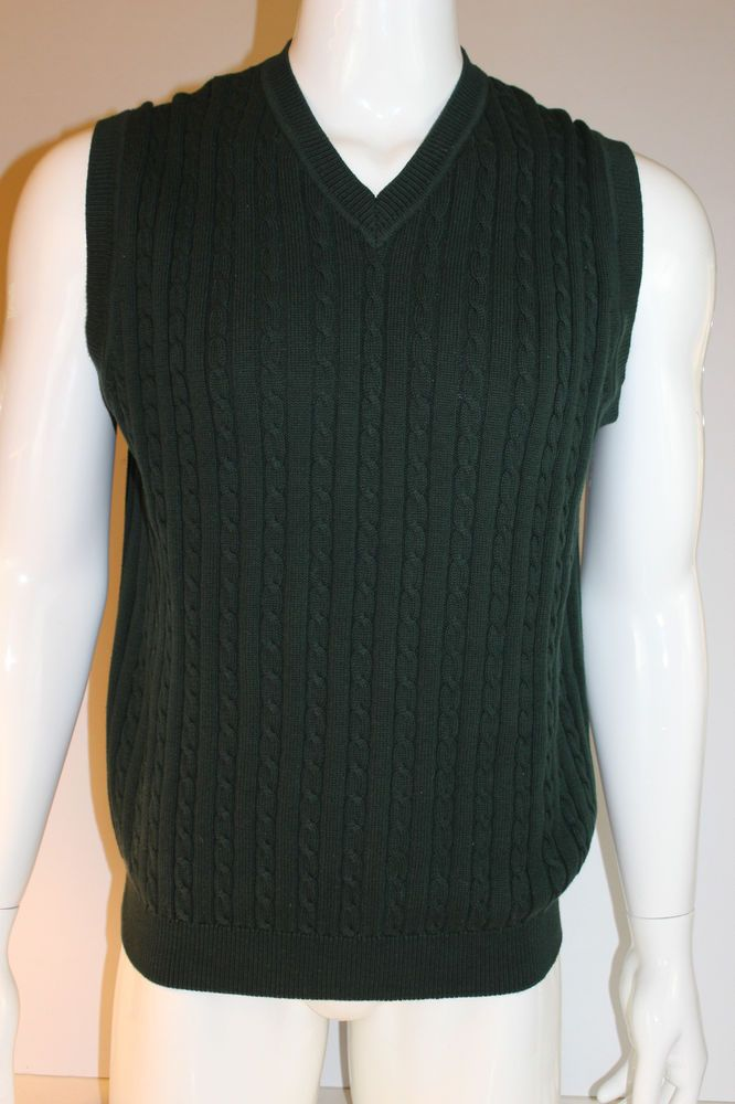Brooks Brothers Golf Green Cable Knit Sleeveless Sweater Vest Large