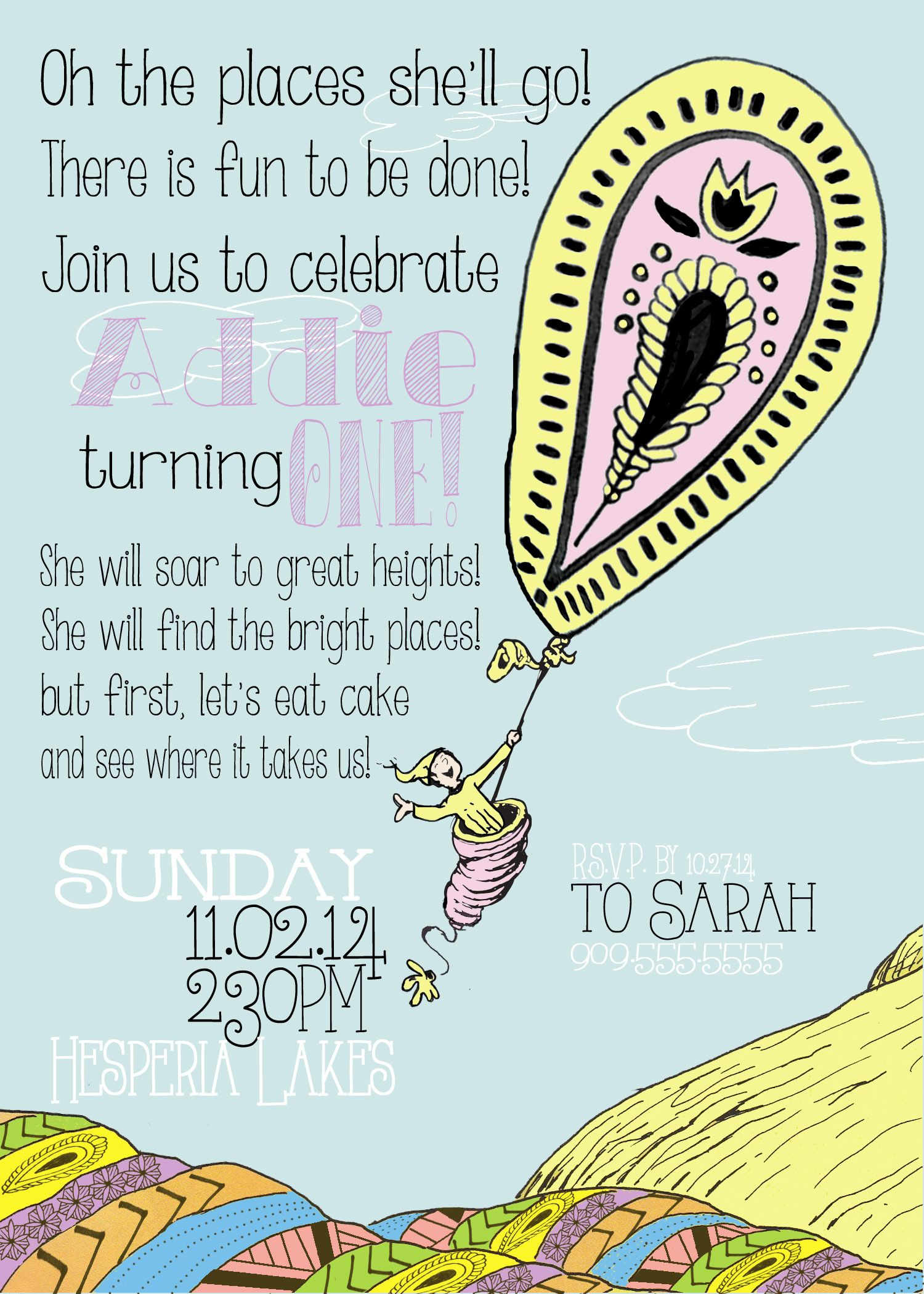 """Oh, The Places You'll Go!"" 1st birthday invitation (With"