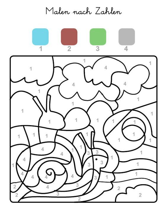 Die Felder mit der Zahl 1 werden blau, Felder mit der Zahl 2 braun - design des projekts kinder zusammen