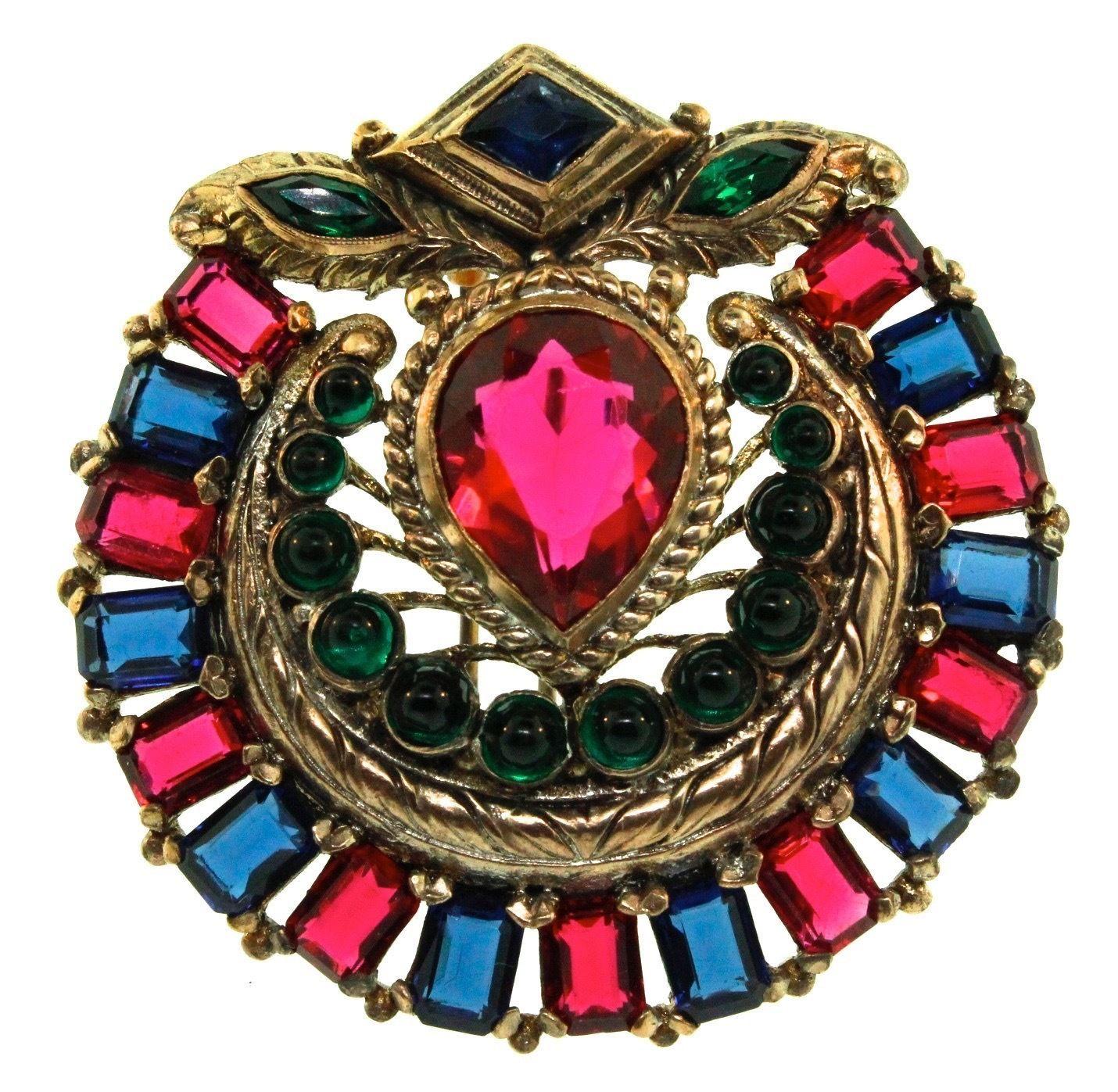 RARE 1930's Philippe Trifari Jewels of India Rhinestone Cab Brooch Fur Clip Pin | eBay
