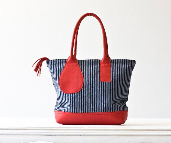 Kallisto bag in stripe denim and red leather ~ milloo