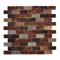 Fire Brick Sand Gl Mosaic At The Home Depot Kitchen Backsplash