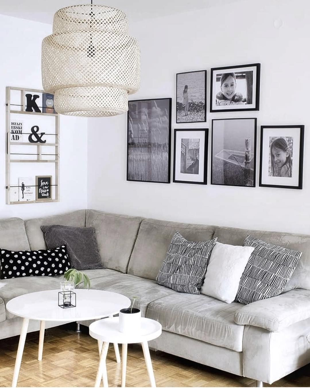 monochrome living room with lovely black and white gallery wall rh pinterest com