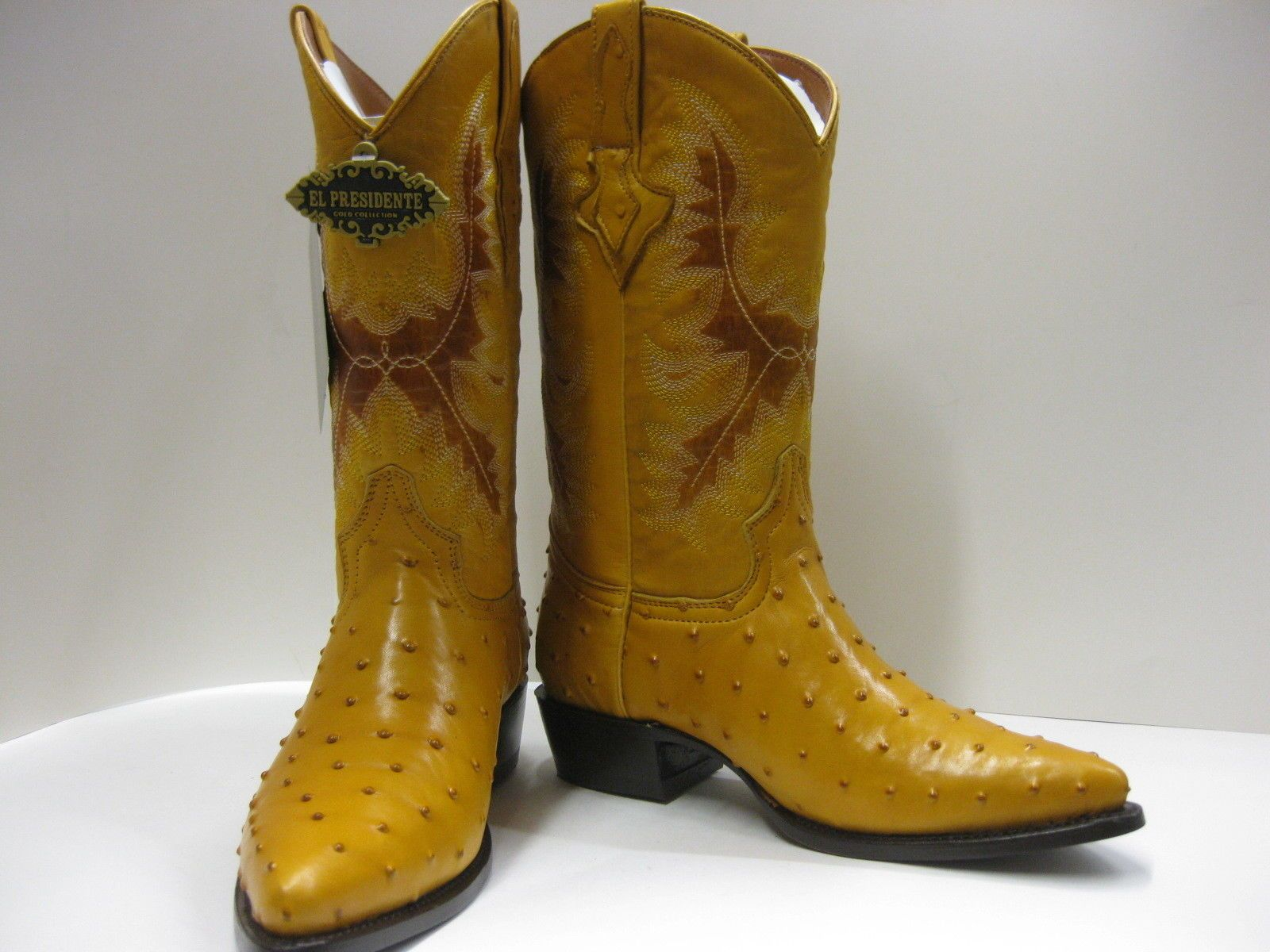 Mens Brown Exotic Crocodile Ostrich Western Cowboy Leather Boots Rodeo Biker