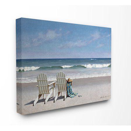Home Beach Canvas Wall Art Wall Canvas White Adirondack Chairs