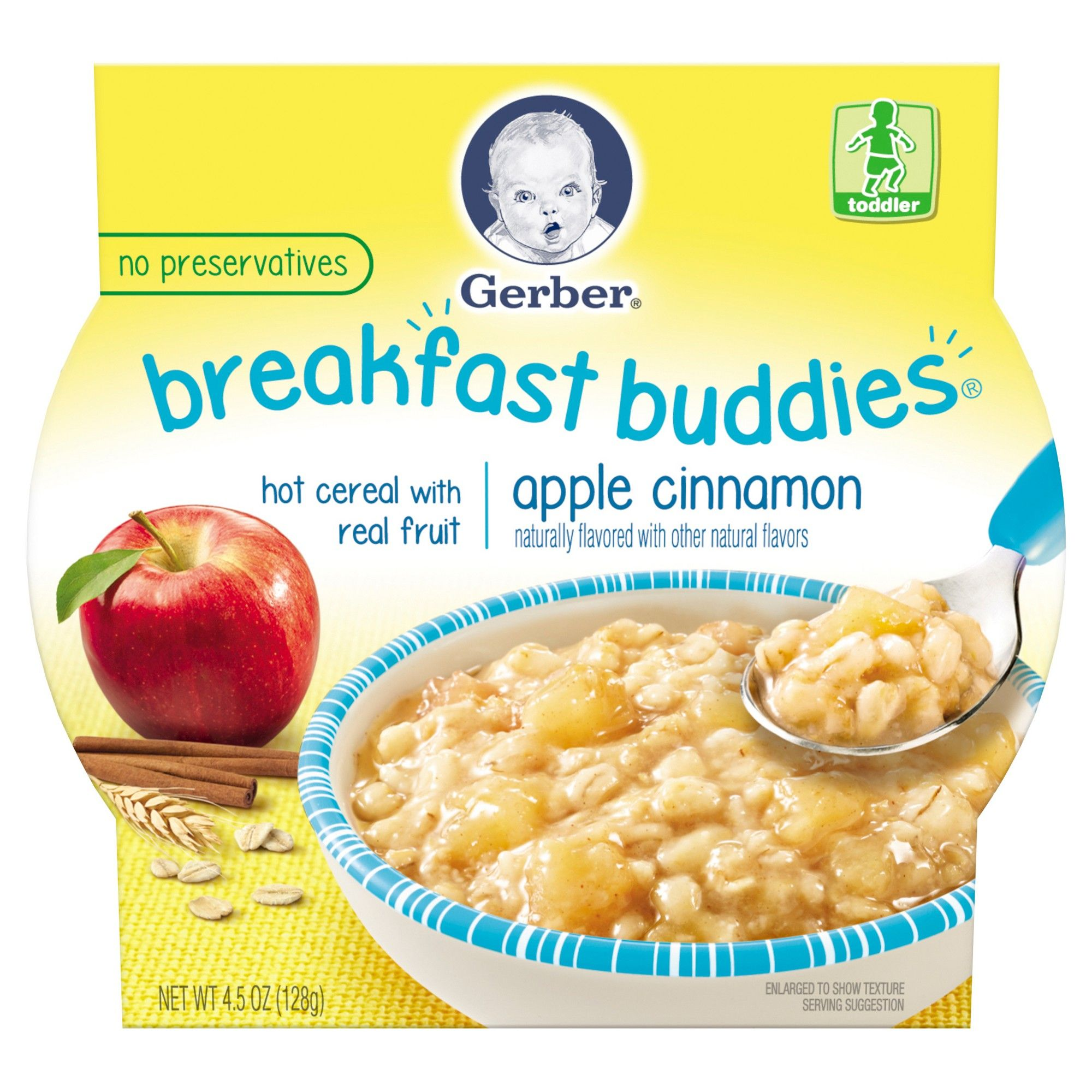 Gerber breakfast buddies hot cereal with real fruit apple
