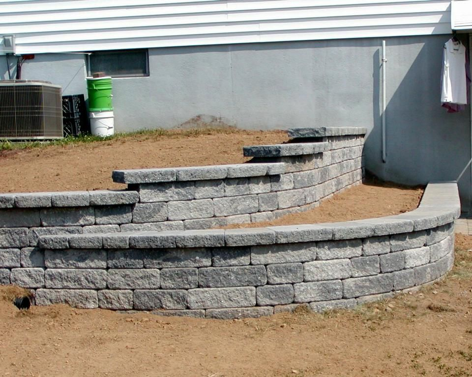 2 Tiered Small Retaining Wall Provided By Jvm Enterprises Hampton 08827 Landscaping Retaining Walls House Landscape Tiered Landscape