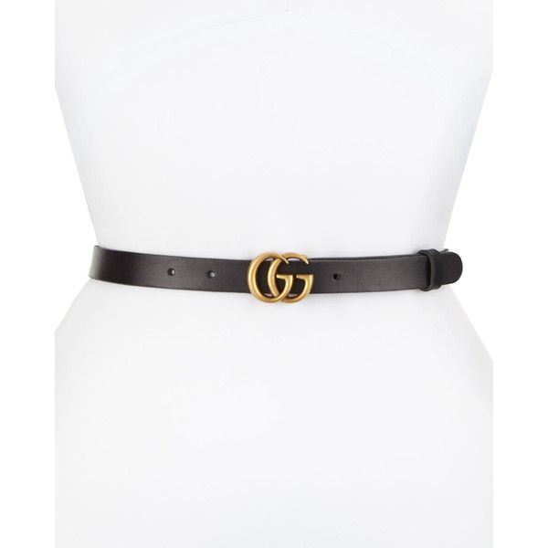 4bb3cbc16f5 Gucci Thin GG Leather Belt ( 330) ❤ liked on Polyvore featuring accessories