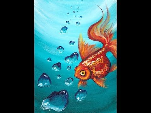 Goldfish And Realistic Underwater Bubbles Step By Step Acrylic Painting Tutorial For Beginners Youtube The Art Sherpa Bubble Painting Painting Tutorial