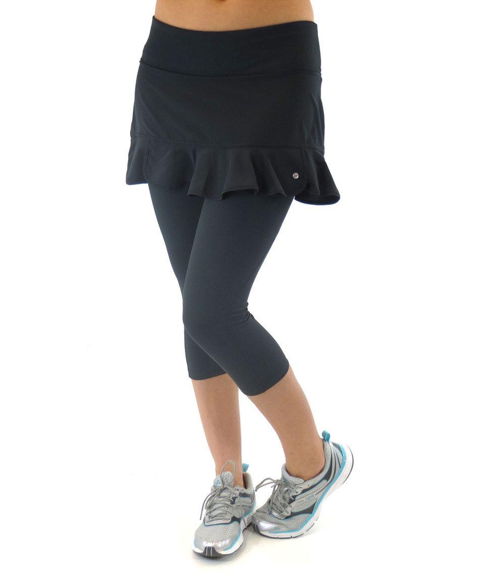 Plus Size Ryka Endurance Skirted Yoga Capri Leggings True Blue