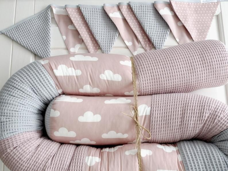 Bed Snake Alchrosa Waffle Pique Grey Clouds Baby Bed Border Cot Nests Baby Storage Roll Personalized In 2020 Baby Storage Baby Bed Cot Bumper