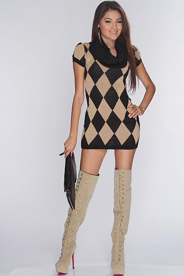 Black Beige Tinsel Knitted Pattern Sexy Sweater Dress