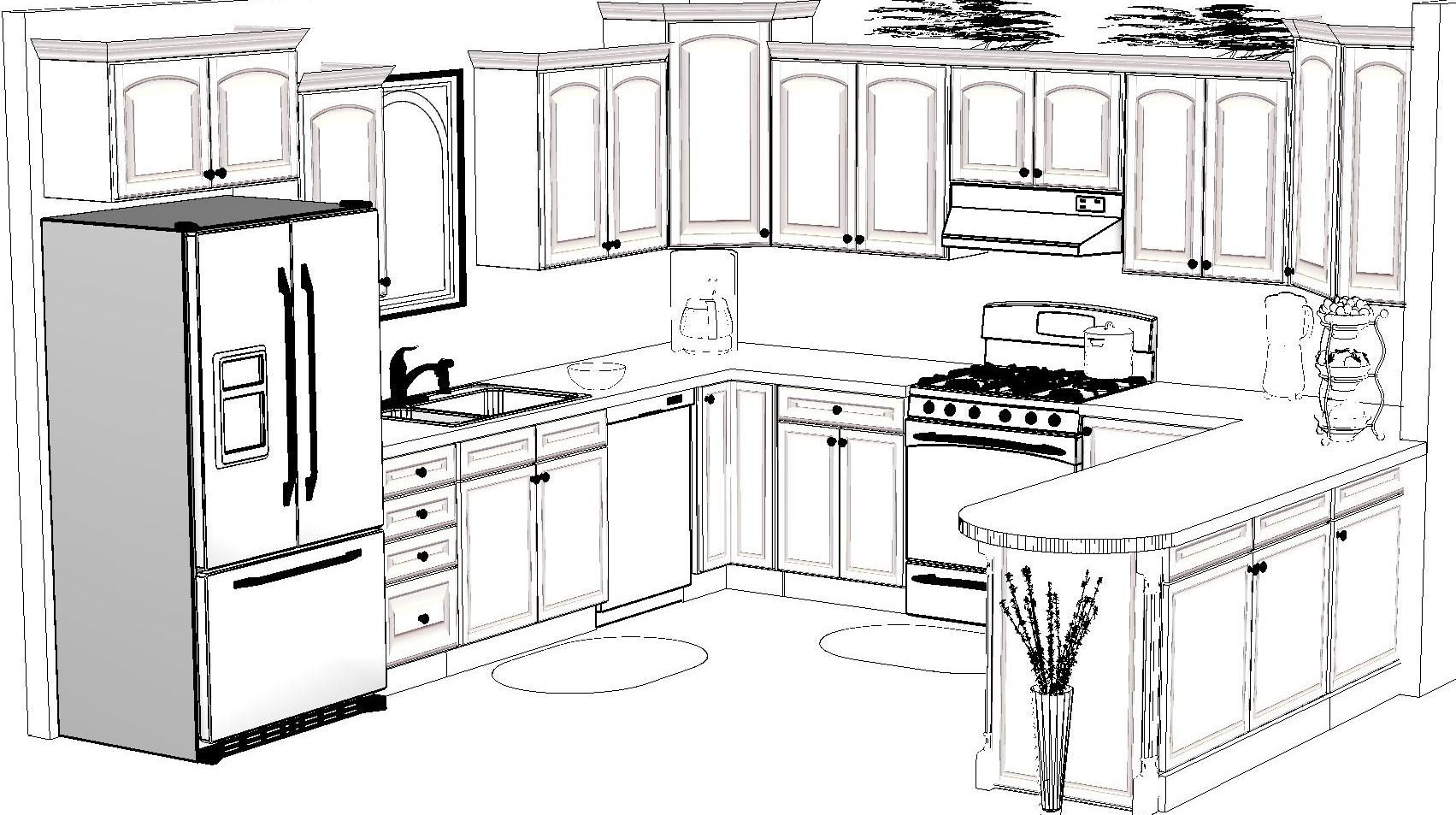 Kitchen Design Sketch Awesome 13988 02drawing Inspirations Pinterest Sketches Kitchens