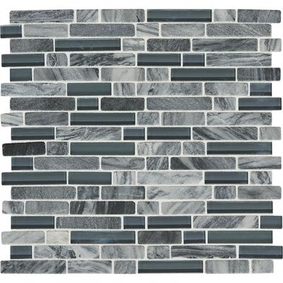 American Olean In X In Westport Stratus Grey Linear Stone And - American olean glass and stone mosaic tile