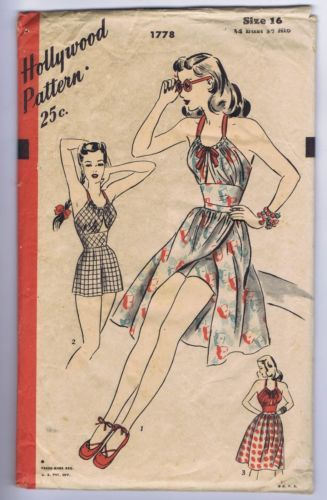 1940s Hollywood 1778 Play Suit Sewing Pattern | eBay | Sew This ...