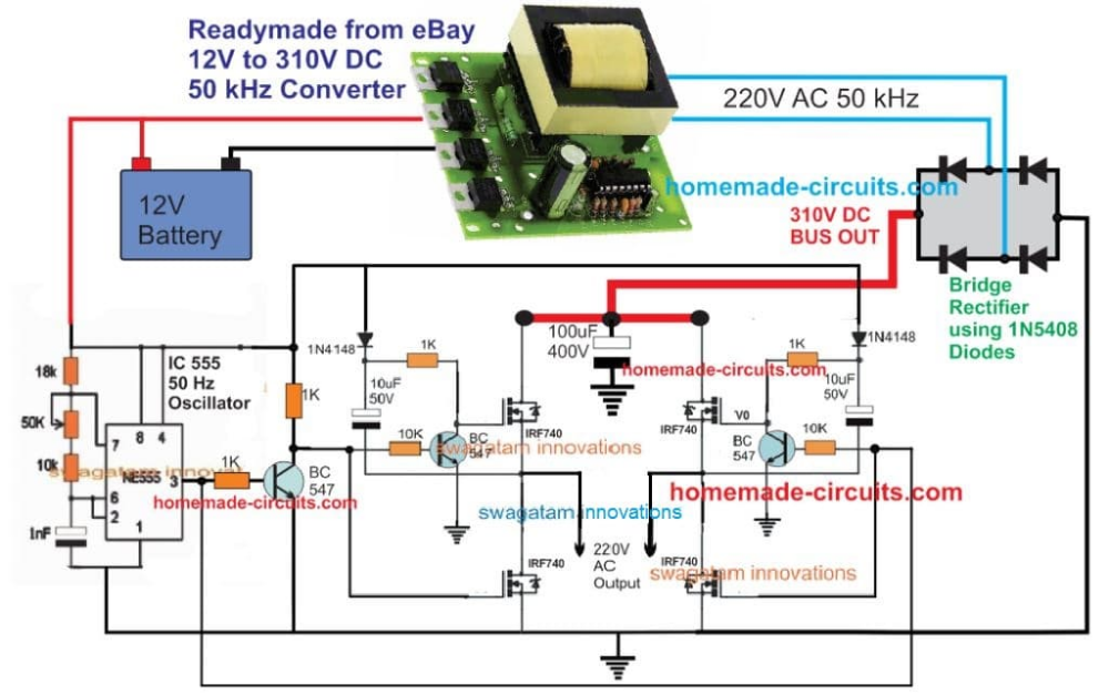 Shema Invertora S Ferritovym Serdechnikom 5kva Polnaya Rabochaya Shema S Detalyami Rascheta Samodel Circuit Projects Electronic Circuit Projects Circuit Diagram