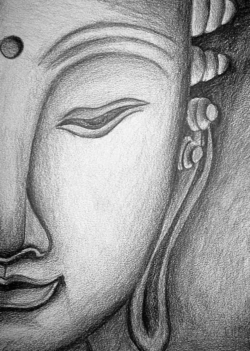 Gautam buddha pencil sketch