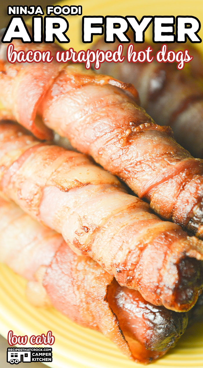We love making these Air Fryer Bacon Wrapped Hot Dogs