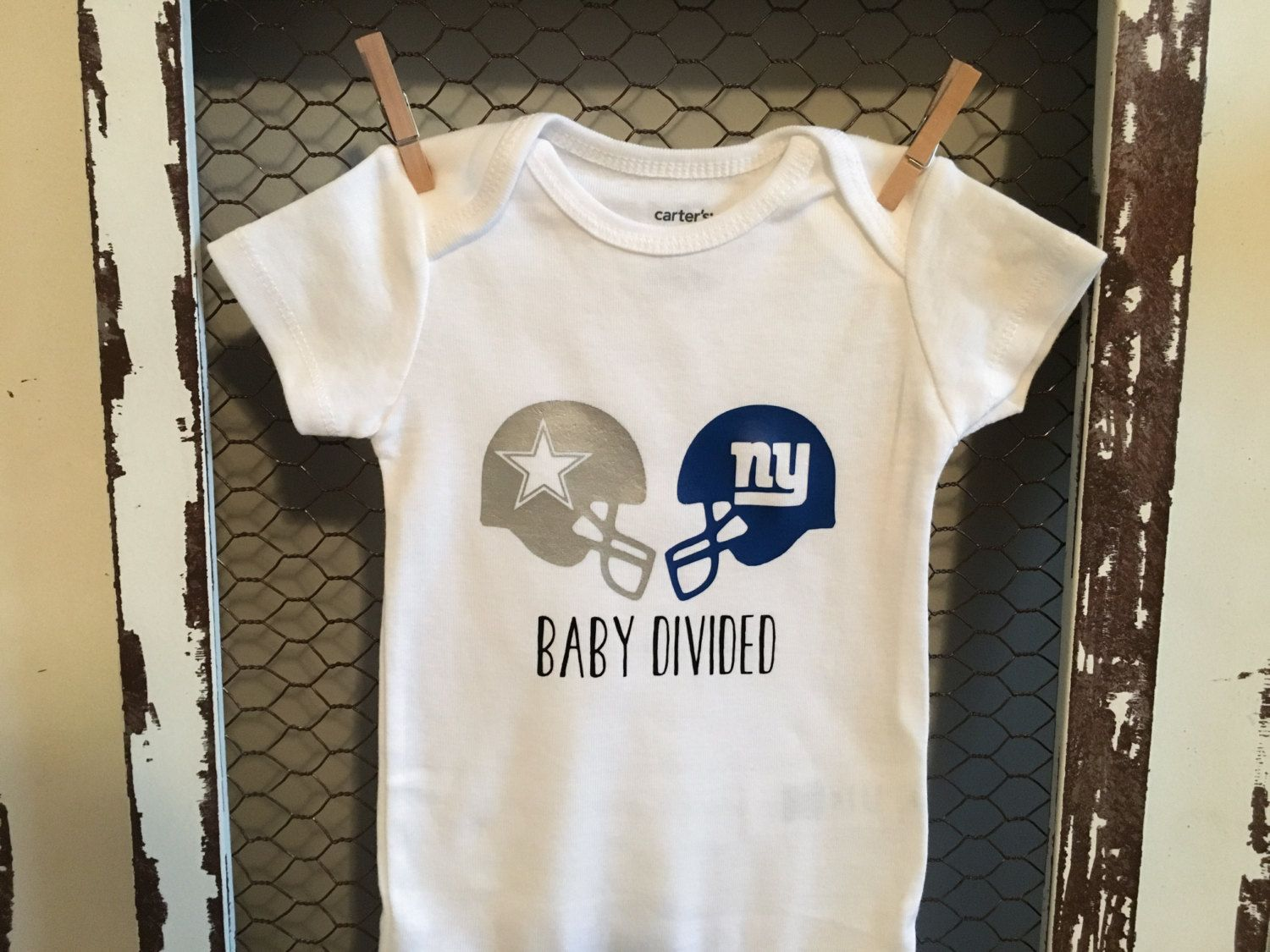 Dallas Cowboys vs New York Giants Baby Divided Onesie (Can Do Other Teams)   3e307c1ed