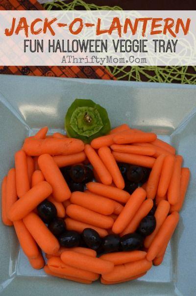 Healthy Halloween treat ideas, Jackolantern Veggie Tray, Healthy ...