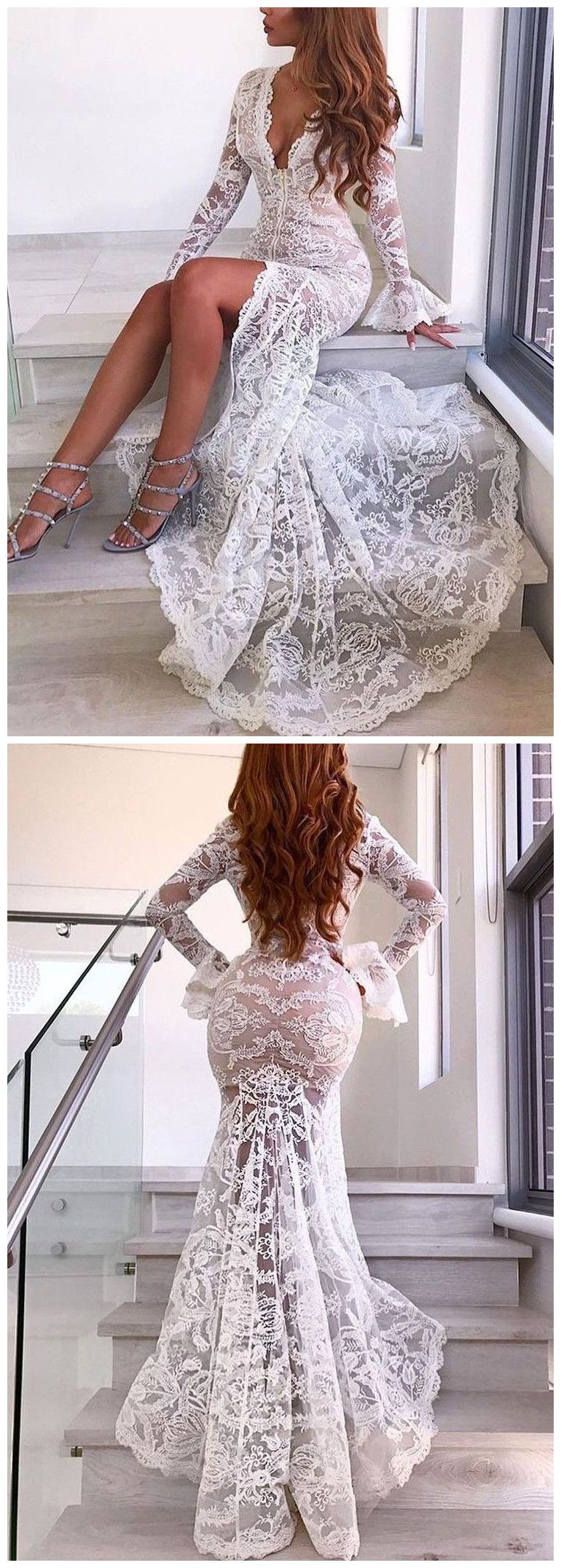 Nektaria wedding dress  TrumpetMermaid Deep V Wedding Dress With Lace Long Sleeve Sexy