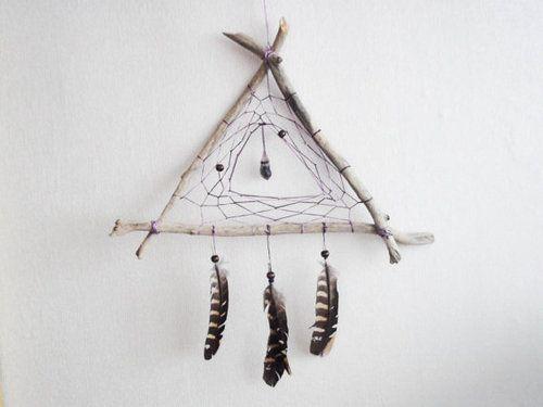 Triangle Dreamcatcher Dreamcatcher Diy Feather