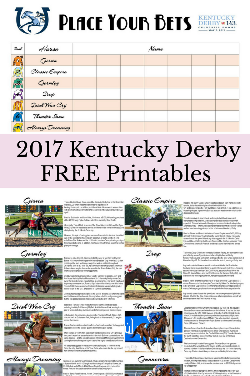 Free Kentucky Derby Printables   The Well Dressed Table   Kentucky ...