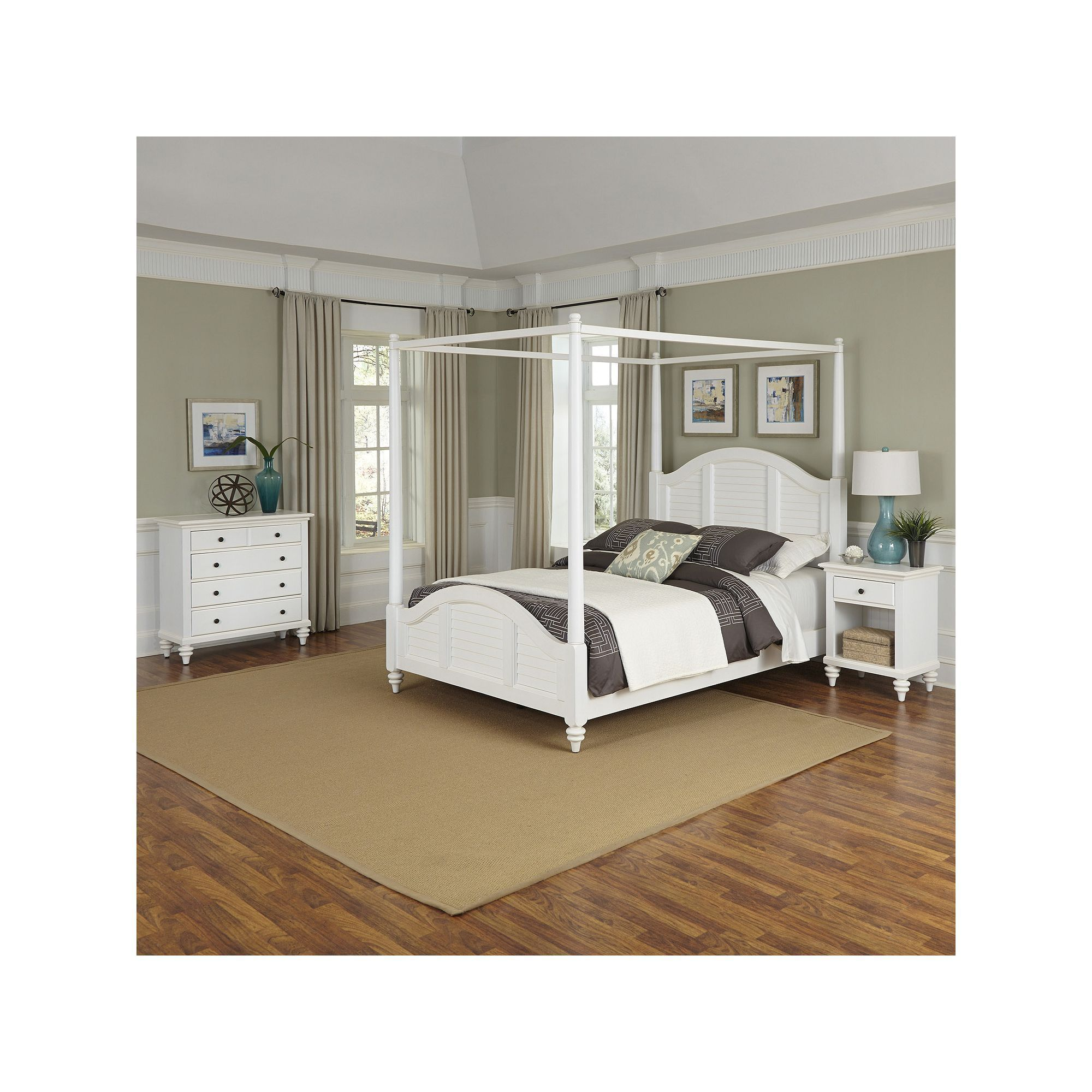 Home Styles 3 Piece Bermuda Canopy Bedroom Set, White