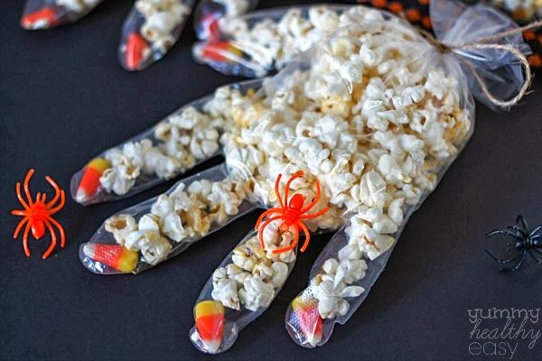 Halloween Candy Corn Popcorn Hands - Yummy Healthy Easy