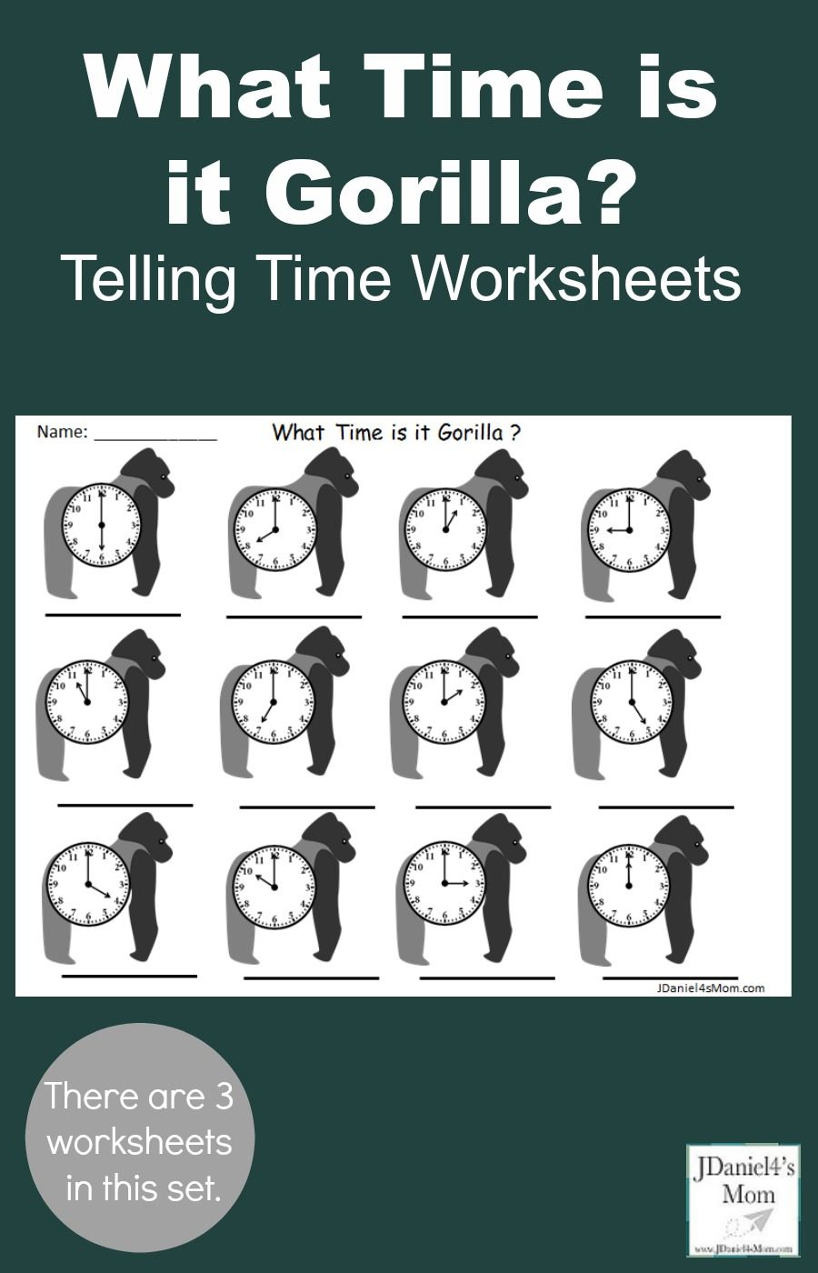 This Set Of Three What Time Is It Gorilla Telling Time Worksheets Was Designed To Be Used After Heari Telling Time Worksheets Time Worksheets Time To The Hour [ 1400 x 900 Pixel ]
