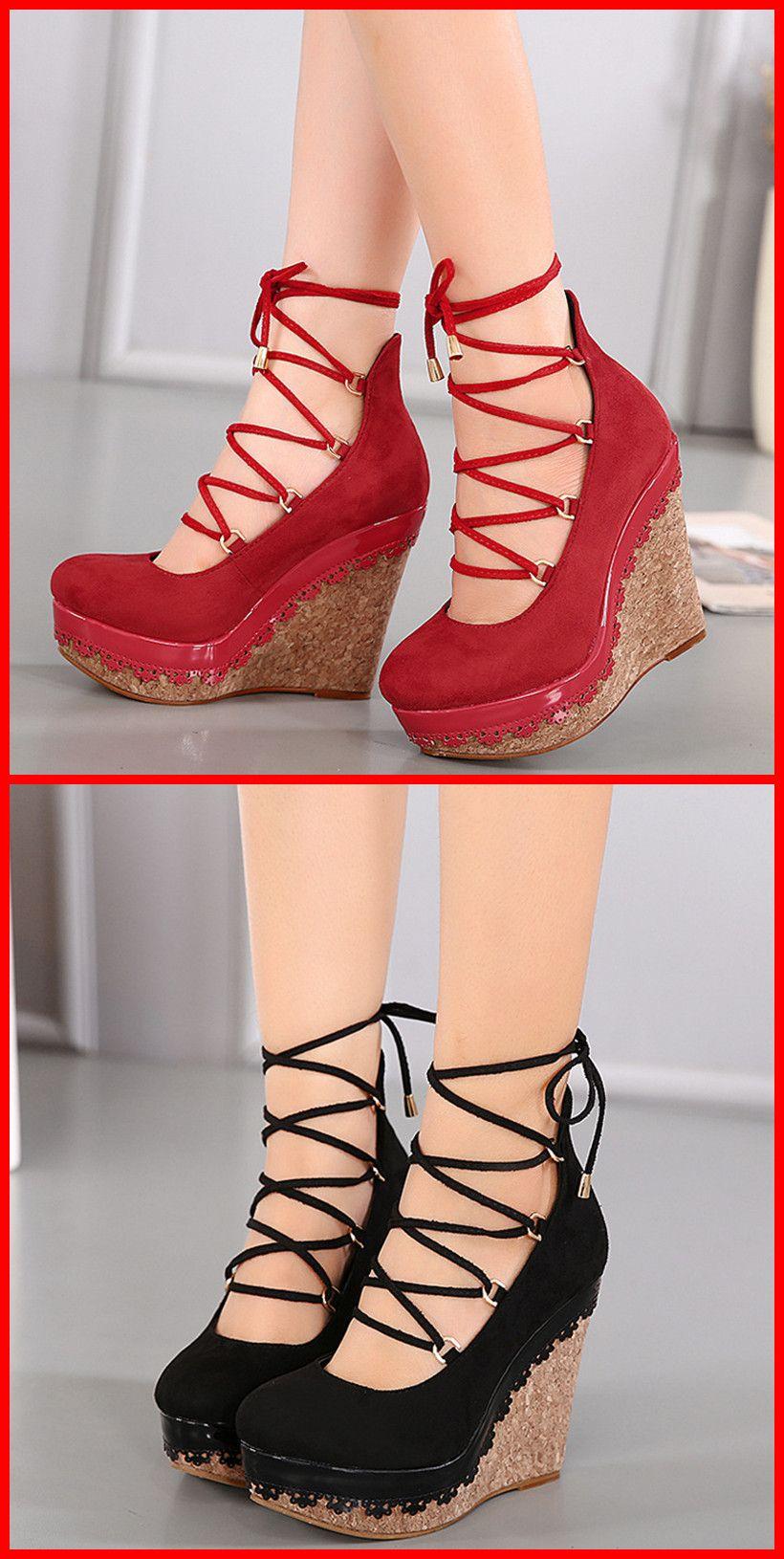 Red Black Lace Platform Wedges