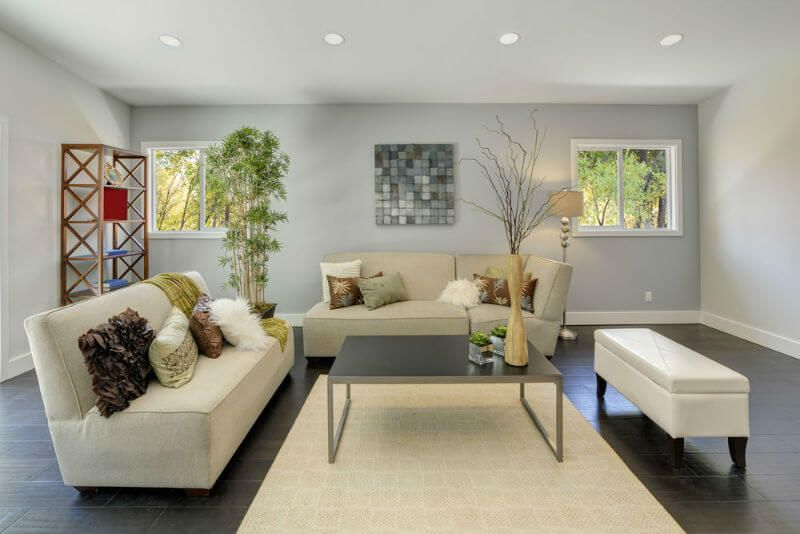simple front room design, light grey walls, dark floors accented by ...