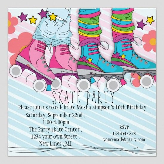 Free Printable Roller Skating Birthday Party Invitations Inside Keyword