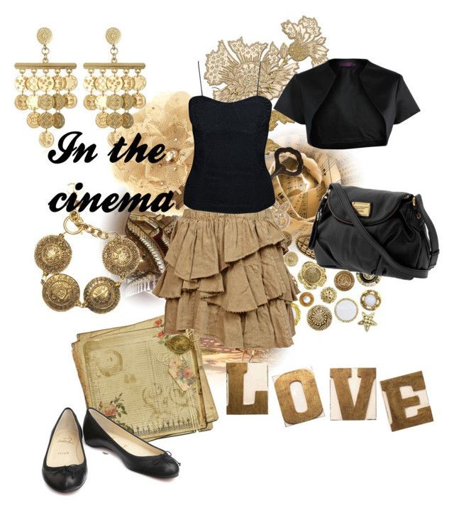 """""""In the cinema"""" by fantasyfan ❤ liked on Polyvore featuring Isolá, Tarina Tarantino, Home Decorators Collection, Étoile Isabel Marant, Christian Louboutin, Chanel, House of Harlow 1960, Marc by Marc Jacobs, Debut and Loeffler Randall"""