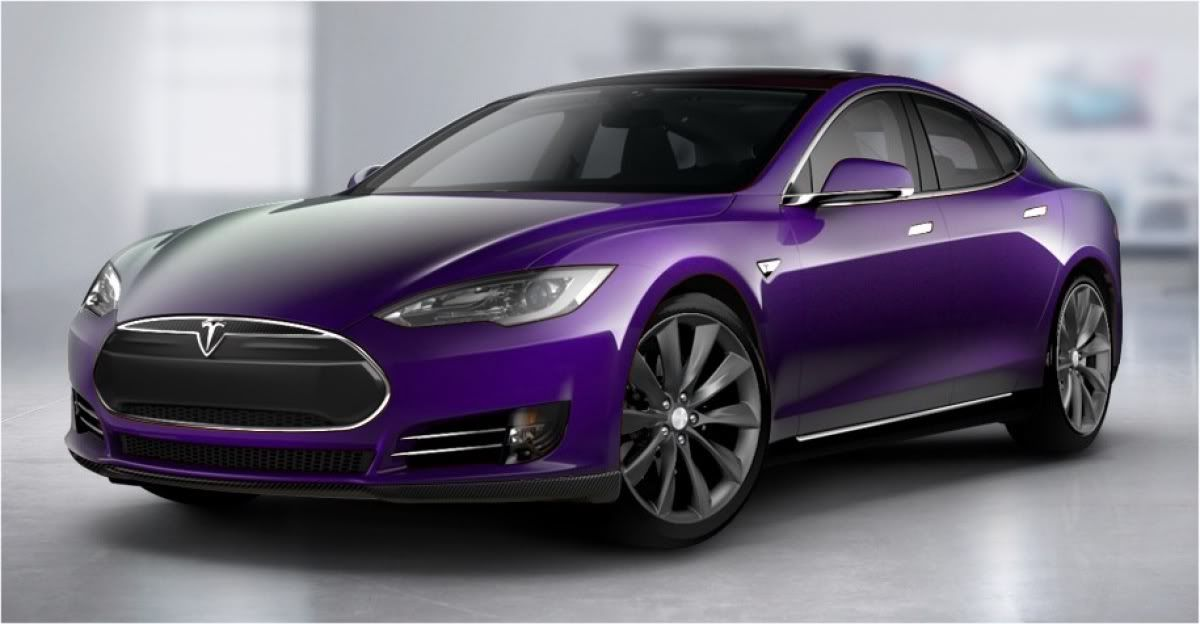Purple Tesla Yeah Omg I Think I Just Died And Went To Car Heaven