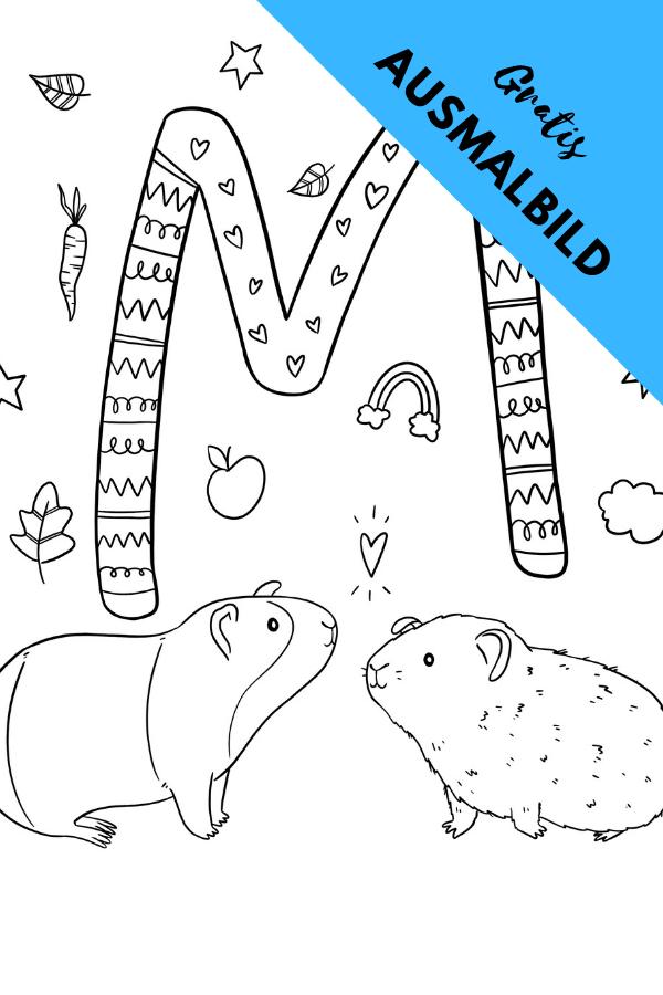 Ausmalbild M Wie Verliebte Meerschweinchen Von Alexa Malt