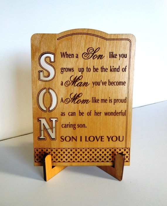 Son Keepsake Plaque Tabletop Greeting By Greatwoodengifts