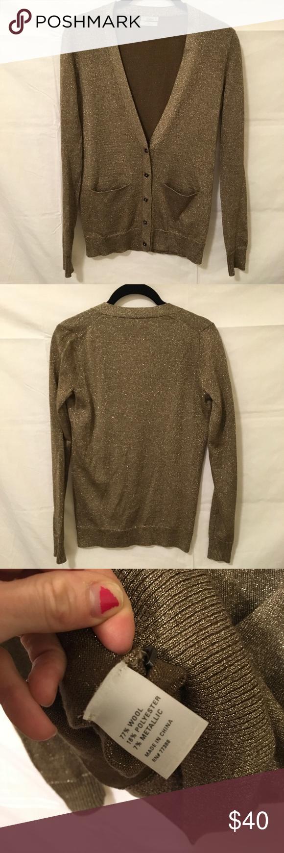 Wallace Madewell Gold Metallic Cardigan Sweater | Metallic ...