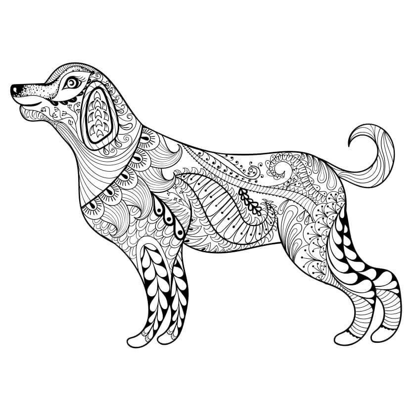 Kostenloses Ausmalbild Hund Die Gratis Mandala Malvorlage Einfach