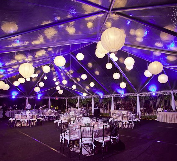 Evening Wedding Reception Decoration Ideas: Fun #ceiling Balls At This #purple #uplighting #wedding