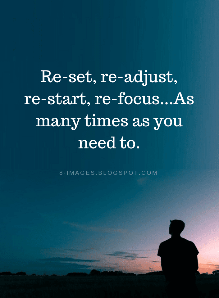 Reset, readjust, restart, refocus...As many times as you ...
