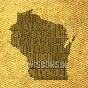 Wisconsin Word Art State Map On Canvas By Design Turnpike Word Art Wisconsin Art Gallery Wrap Canvas