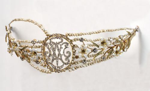 Art Nouveau Diamonds, Natural Pearls, Emeralds and Enamel Diadem