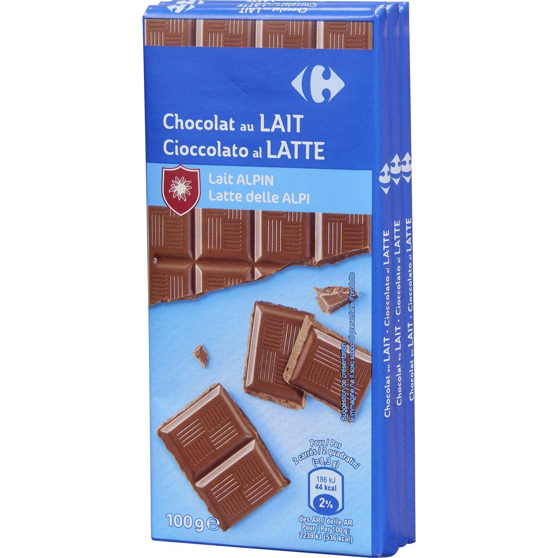 Chocolat Au Lait Alpin Carrefour Les 3 Tablettes De 100g A Prix