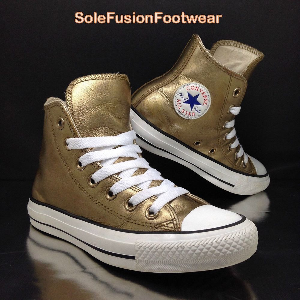 4024c7e95f9e7e Converse All Star Leather Trainers Gold sz 3 Womens Girls Metallic High Tops  35