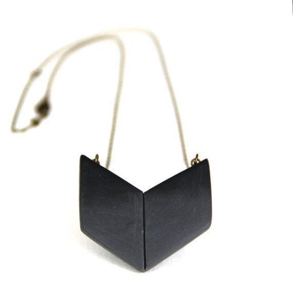 Geometric necklace grey arrow pendant by sloanandtommy on Etsy