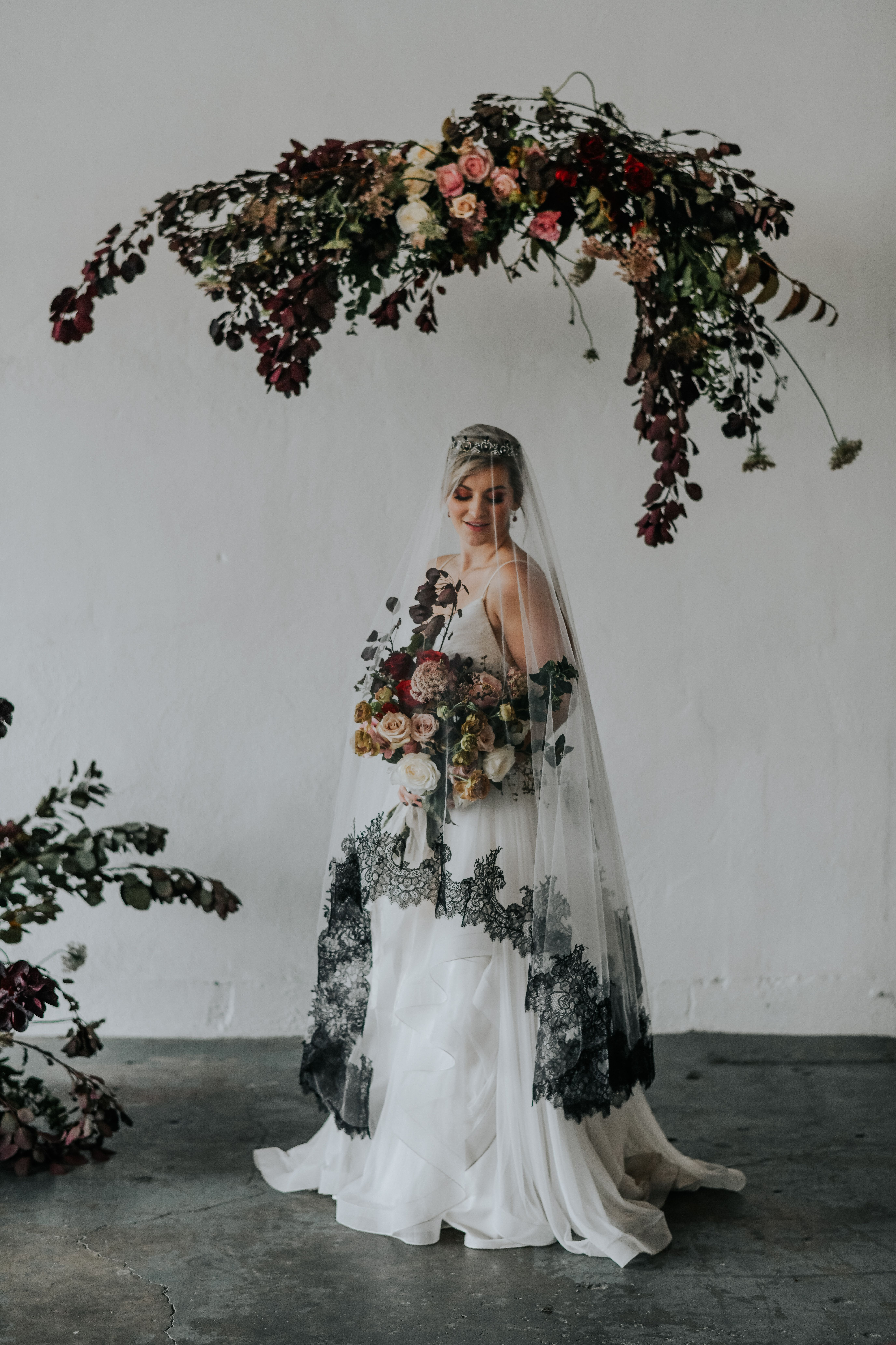 Floral Cascading Hanging Installation For Ceremony Arch Arbor With