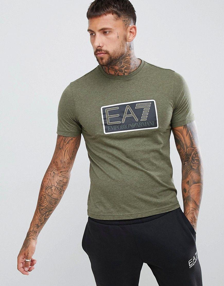 03ab22eb1 EA7 Khaki Logo T-Shirt Heren: kleding